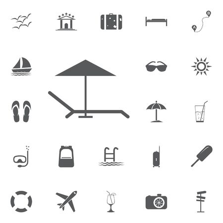 brolly: Beach umbrella and lounger icon flat. Illustration isolated on white background. Vector grey sign symbol