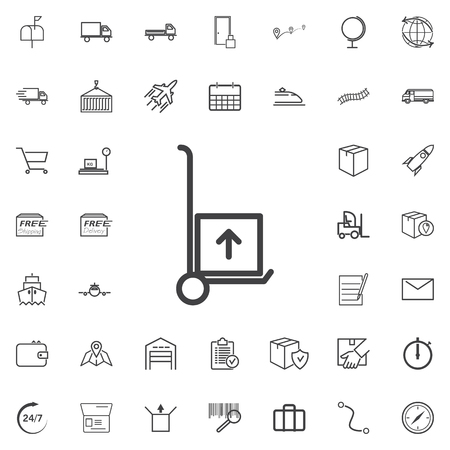 heavy industry: Hand truck line icon logistics transportation parcel shipping delivery icons set Flat isolated on the white background. Vector illustration.Trendy style for graphic design logo