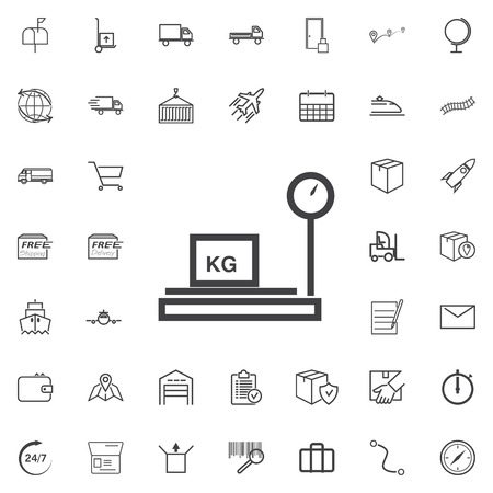 bathroom scale: Weighing machine line icon logistics transportation parcel shipping delivery icons set Flat isolated on the white background. Vector illustration.Trendy style for graphic design logo Illustration