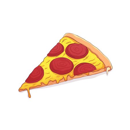 slice of pizza with melted cheese and salami vector illustration.