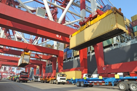 cargo container: Container loading dock Stock Photo