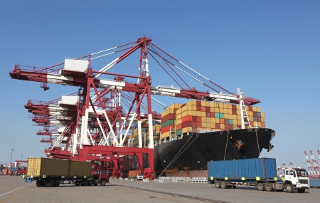 cargo container: Qingdao Port Container loading dock