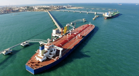 Crude oil trading terminal of Qingdao Port, China, China's crude oil imports in the largest berthing large 30-ton tanker Stock Photo - 23421171