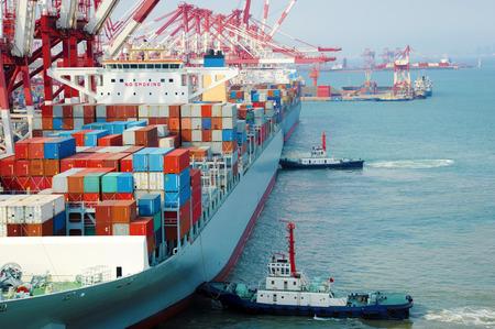 cargo transport: China Qingdao port container terminal Stock Photo