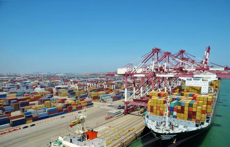 China Qingdao port container terminal Editorial