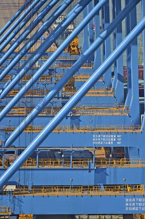 Panamax cranes in a port