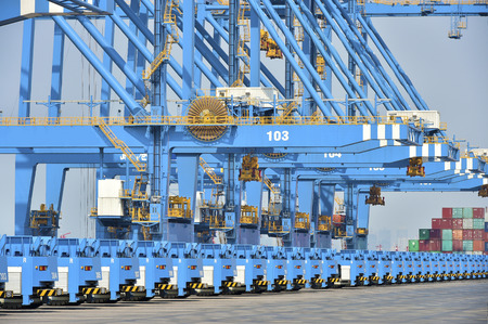 Close up of cranes at a container port