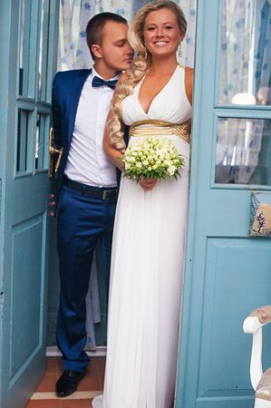 beautiful young Couple on their wedding day photo