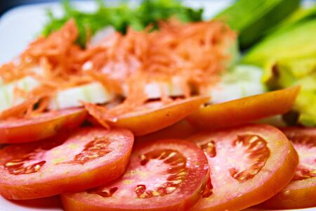 salad mix  from tomatoes of onions laid out on  plate Stock Photo - 15541359