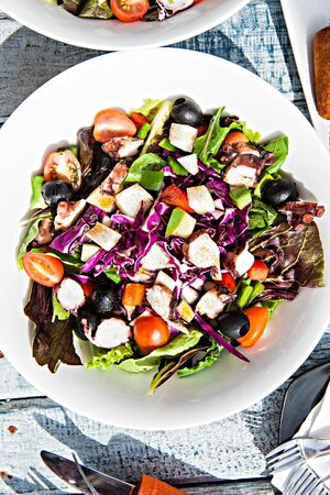 salad mix  from tomatoes of onions laid out on  plate Stock Photo - 15541430