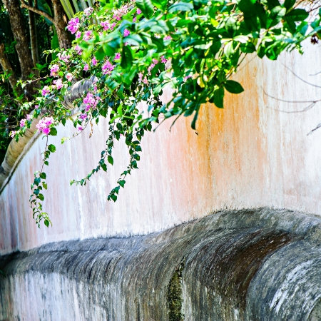 Artificial waterfall upon the wall in the garden. photo