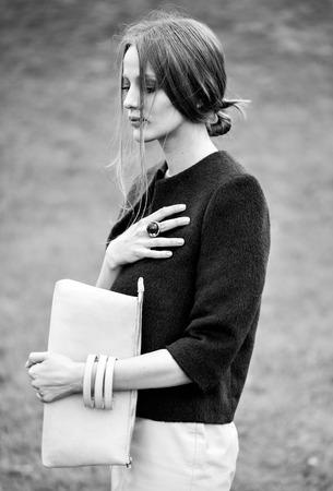 black and white woman fashion model outdoor portrait Stock Photo