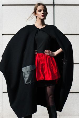fashion woman outdoor portrait. black and white photo