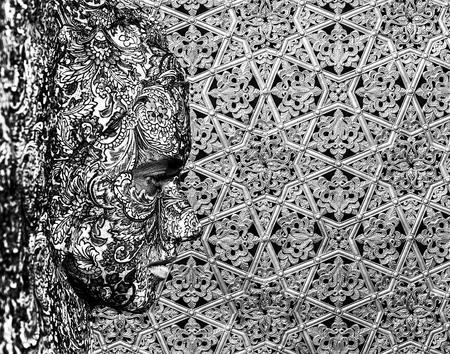 ceremonial makeup: texture face art woman black and white portrait Stock Photo