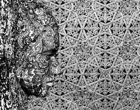 texture face art woman black and white portrait Stock Photo