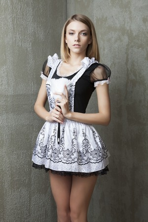 housemaid: Fashion model in housemaid suit