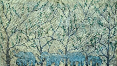 braiding: Blue cloured elephants family walking in the forest. Picture on braiding