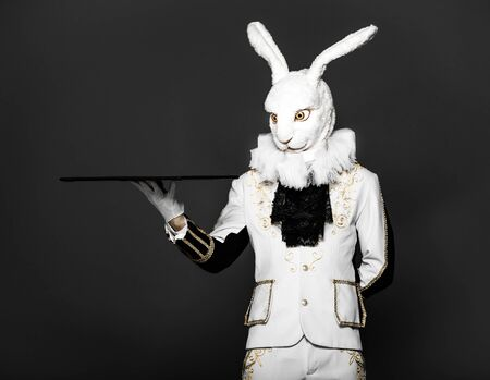 animal head: Actor posing in white rabbit suit with tray on black background Stock Photo