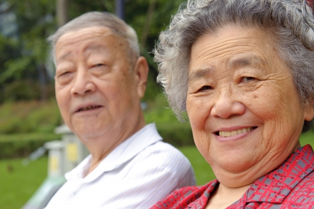 grandfather and grandmother: portrait of happy grandfather and grandmother