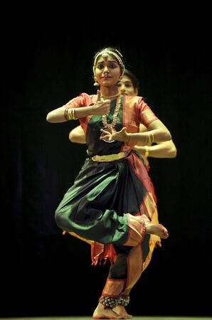 bharatanatyam dance: CHENGDU - OCT 24: Indian folk dance