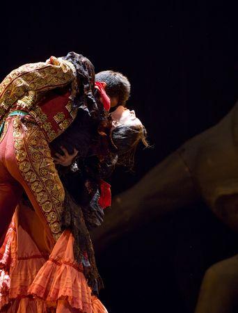CHENGDU - DEC 28: The Ballet Troupe of Spanish Rafael Aguilar(Ballet Teatro Espanol de Rafael Aguilar) perform the best Flamenco Dance Drama