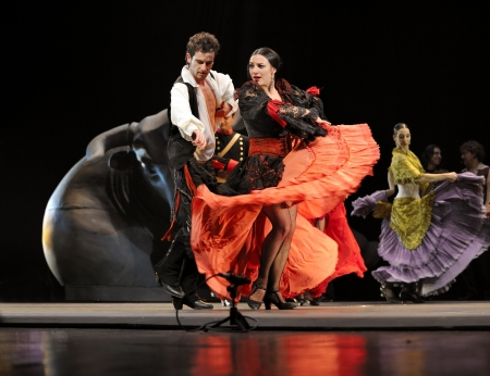 carmen: CHENGDU - DEC 28: The Ballet Troupe of Spanish Rafael Aguilar(Ballet Teatro Espanol de Rafael Aguilar) perform the best Flamenco Dance Drama