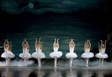 ballet ni�as: CHENGDU - 24 de DEC: Ballet del lago de los cisnes interpretada por ballet real rusa en teatro de Jinsha el 24 de diciembre de 2008 en Chengdu, China.  Editorial