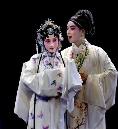 performers: CHENGDU - MAY 23: Suzhou Kunqu Opera Theater of china perform The Peony Pavilion at Golden theater May 23, 2007 in Chengdu, China. The leading role is the famous opera actress Shen Fengying.