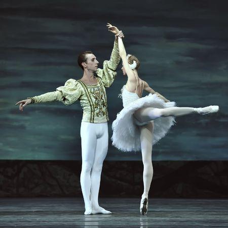animal tutu: CHENGDU - DECEMBER 24: Russian royal ballet perform Swan Lake ballet at Jinsha theater December 24, 2008 in Chengdu, China.