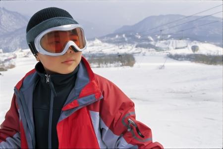 portrait of skiing boy photo