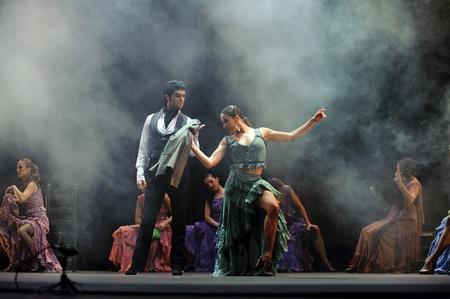 CHENGDU - DEC 28: The Ballet Troupe of Spanish Rafael Aguilar(Ballet Teatro Espanol de Rafael Aguilar) perform the best Flamenco Dance Drama Carmen at JINCHEN theater DEC 28, 2008 in Chengdu, China.