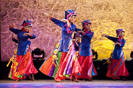 CHENGDU - SEP 28: chinese Tibetan ethnic dance performed by song and dance troupe of Aba Tibetan and Qiang autonomous prefecture at experimental theater in the 6th Sichuan minority nationality culture festival.Sep 28,2010 in Chengdu, China. Stock Photo - 8321828