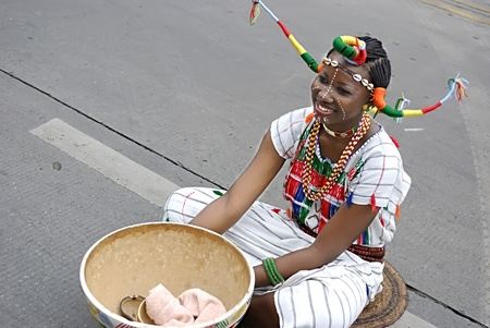 nigeria: CHENGDU - MAY 23: Nigerian artist perform folk music in the 1st International Festival of the Intangible Cultural Heritage China,2007 on May 23, 2007 in Chengdu, China.