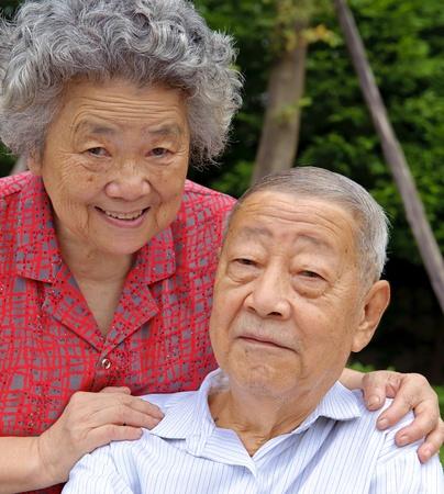 embraced: happy senior couple embraced