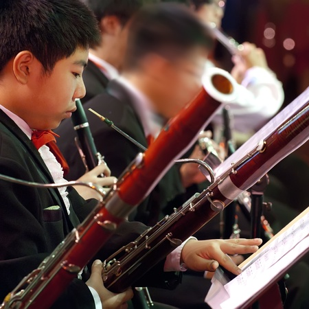 fagot: bassoon boy in concert