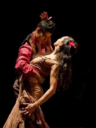 matador: CHENGDU - 28 DEC: De beste flamenco dans drama Carmen uitgevoerd door de Ballet Troupe van Spaanse Rafael Aguilar(The Ballet Teatro Espanol de Rafael Aguilar) in JINCHENG theater 28 DEC 2008 in Chengdu, China.