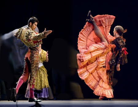 CHENGDU - DEC 28: The Best Flamenco Dance Drama Carmen performed by The Ballet Troupe of Spanish Rafael Aguilar(The Ballet Teatro Espanol de Rafael Aguilar) at JINCHENG theater DEC 28, 2008 in Chengdu, China. Editorial