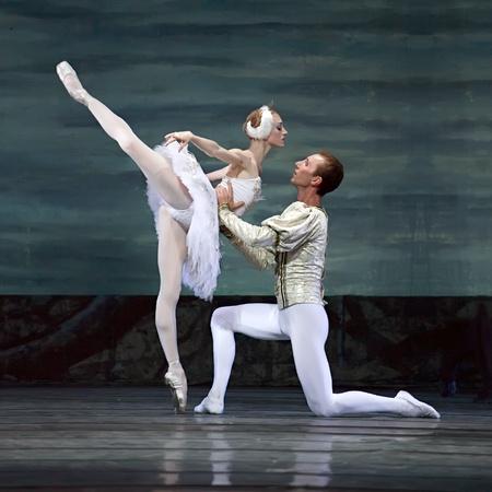 swan pair: CHENGDU - DEC 24: Swan Lake ballet performed by Russian royal ballet at Jinsha theater December 24, 2008 in Chengdu, China.