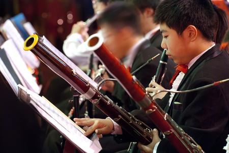 fagot: bassoon boy in concert