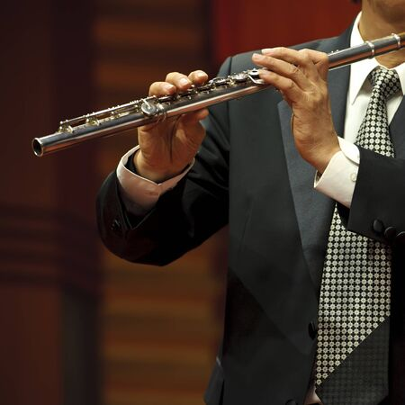 chamber: flutist on chamber music concert Stock Photo