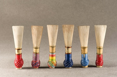 double reed of bassoon,a woodwind Stock Photo