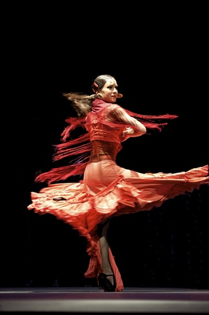 28: CHENGDU - DEC 28: The Best Flamenco Dance Drama Carmen performed by The Ballet Troupe of Spanish Rafael Aguilar(The Ballet Teatro Espanol de Rafael Aguilar) at JINCHENG theater DEC 28, 2008 in Chengdu, China. Editorial