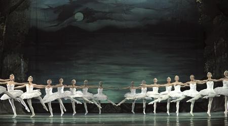 swan lake: CHENGDU - DECEMBER 24: Russian royal ballet perform Swan Lake ballet at Jinsha theater December 24, 2008 in Chengdu, China.