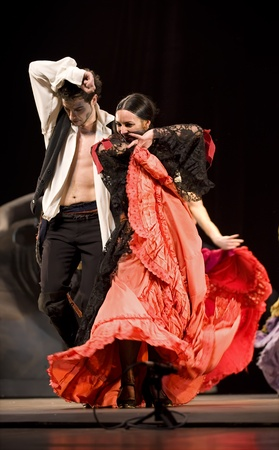 tap dance: CHENGDU - DEC 28: The Best Flamenco Dance Drama Carmen performed by The Ballet Troupe of Spanish Rafael Aguilar(The Ballet Teatro Espanol de Rafael Aguilar) at JINCHENG theater DEC 28, 2008 in Chengdu, China. Editorial