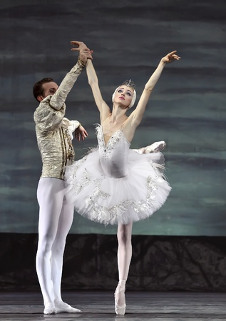 Russian royal ballet perform Swan Lake ballet at Jinsha theater December 24, 2008 in Chengdu, China.