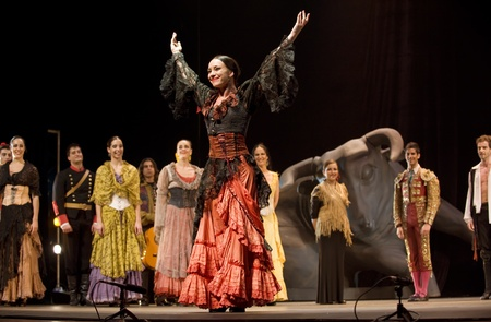 paso doble: The Best Flamenco Dance Drama Carmen performed by The Ballet Troupe of Spanish Rafael Aguilar(The Ballet Teatro Espanol de Rafael Aguilar) at JINCHENG theater DEC 28, 2008 in Chengdu, China. Editorial
