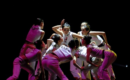 wei: CHENGDU - DEC 14: Chinese modern group dance Quick Tongue Wei performed by Tianjin Song and Dance Theater at Golden theater in the 7th national dance competition of china on DEC 14,2007 in Chengdu, China.