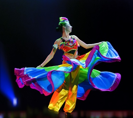 CHENGDU - DEC 10: Duo dance Taste of Yi village performed by Beijing Song and Dance Troupe at Golden theater in the 7th national dance competition of china on Dec 10,2007 in Chengdu, China. Choreographer & actor: Wang Ke, Yu Manman