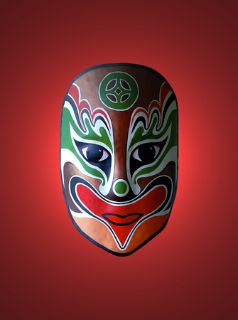 chinese opera: chinese traditional opera facial painting with red isolated background Stock Photo