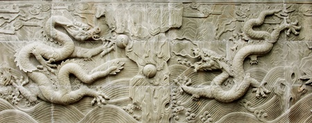 bas relief: dragons relief : chinese royal totem Stock Photo